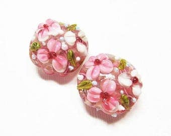 20% OFF LOOSE BEADS - Lampwork Glass Art Beads - Pink, White, and Olive Green Fancy Flower Lentils (2 beads) - gla940