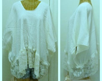 Lace Blouse Top Large, Up Thru 6X Plus Sizes Tunic Womens One Size Lagenlook Gypsy Bohemian