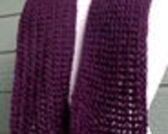 Hand Crocheted Scarf - Deep Plum - 7191