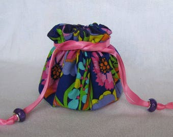 Traveling Jewelry Bag - Medium Size - Jewelry Pouch - Tote - FLORAL EXPLOSION
