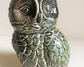 Vintage Green Ceramic Owl Figurine