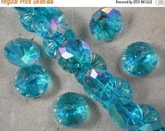 ON SALE 8 Buttons Glass Beads Blue Zircon Rainbow AB 20mm (C114)