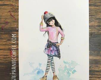 GRAB BAG Originals - Stripey Legs Fashion Watercolor