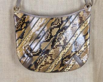 VINTAGE 1980's Snakeskin Shoulder Bag * Handbag