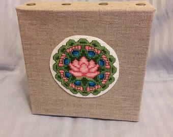 Lotus Flower Meditation Block 6x6 Art Decor