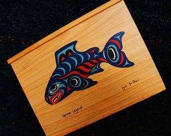 Vintage Wood Box Wooden Box Joe Wilson Salmon Legend Sliding Top