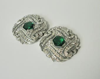 1930s Silver tone with Clear Rhinestones and Hexagon Emerald Green Rhinestones 2 Pieces Belt Buckle. Deco.