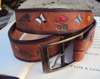 Vintage Tooled Leather Belt Hand Made Painted Butterflies Mushrooms Flowers Hippie Bohemian Chic Hipster 1970s Seventies Brass Buckle Boho