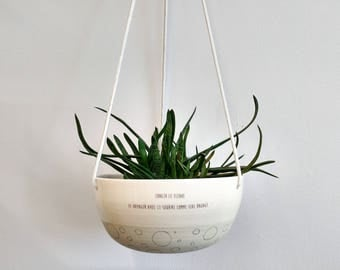 Hanging planter. Large ceramic plant hanger, succulent pot, terrarium. Plant pot, plant holder, modern pottery.