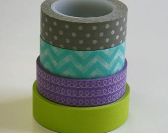 25% Off Summer Sale Washi Tape Set - 15mm - Combination EF - Grey Aqua Lime Lavender - Four Rolls Washi Tape - No. 2, 83, 167, 561