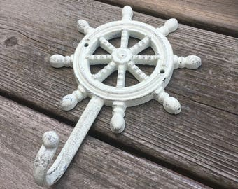 Cream Large Nautical Wheel Wall Hook - Helm Coat Hook - Nautical Hook (WH08-03)