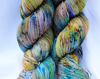 hand painted Super wash merino speckled sock yarn fingering weight 100 grams 3.6 oz