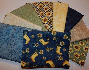 NEW Sunshine Garden Sunflower Quilt Fabric 100% Cotton Bundle B- 9  Coordinating Fat Quarters