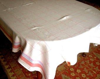 RETRO Vintage TABLECLOTH Blue Trim LINEN Damask Block Boxes Pink & Stripes Excellent