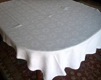 DAMASK Tablecloth Vintage Bone WHITE Slick Linen Drawn Hemstitching Laurel Wreaths in Rows