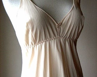 Vintage Dress Slip Negligee Gown Peignoir Petticoat Trticot Nylon Lace Cream 38 LONG