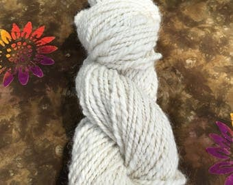Natural Hand Spun Alpaca Yarn, Two Ply, Worsted Weight, Natural White
