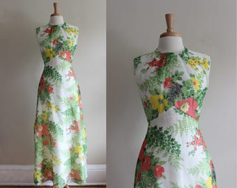 1960s Dress / Vintage Yellow, Coral & White Floral Maxi Dress
