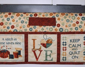 Quilted Sewing Machine Pad, Organizer, Caddy, Colorful Buttons, Quilting Quotes