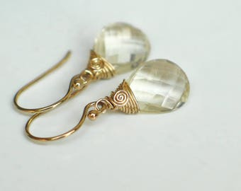 Oregon Sunstone Earrings | Light Champagne Pear Briolettes | 14k Gold Filled Dangles | Bridal | Birthday | Everyday Earrings | Ready to Ship