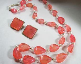 Vintage Plastic Necklace Earrings for Repair or Re-purpose - As Is