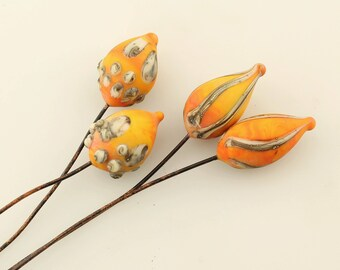 Lampwork Glass Bead Head Pins Etched Matte Headpin Rustic Pod on Antique Copper Wire, Orange