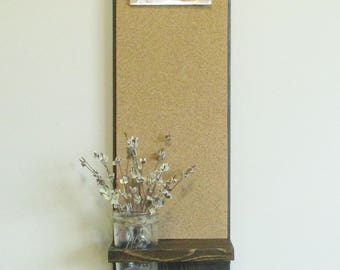 Rustic Farmhouse Cork Board Message Board...Key Hooks..Kitchen or Office Organizer..Mason Jar Shelf...Ready to Ship
