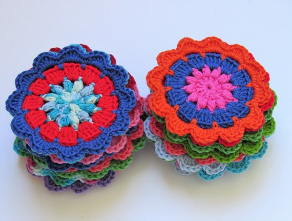 Crocheted large flowers set of 23 appliqué , 4 inch diameter each, multi colors