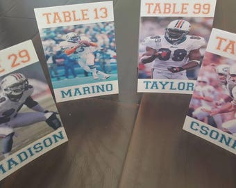 Miami dolphins table numbers, sports teams, players, jets, football, knicks, wedding table numbers , seating cards, sweet 16, bar mitzvah,