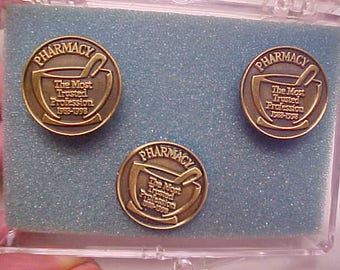 Vintage Drug/Pharmacy CUFFLINKS 1988/98 The Most TRUSTED Profession