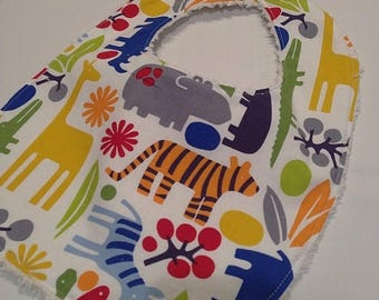 On Sale 2D Zoo Pimary - Infant or Toddler Bib - Terry Cloth Backing - Reversible with ADJUSTABLE Snaps