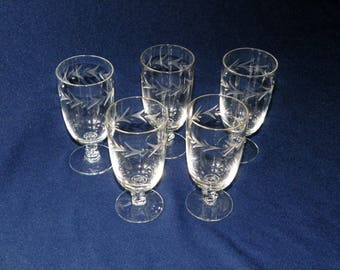 Fostoria Holly 4 3/8 Inch Juice Glasses, Set of 5, MINT, Etched Leaves in Fine Crystal Glasses, Makes Great Liquor Glasses