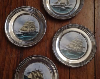 Frank M. Whiting sterling silver historic ship coaster or trays