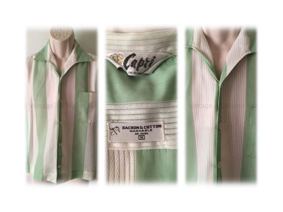 1950s CAPRI CALIFORNIA Green and White Striped Mens Short Sleeve Shirt Jacket with Adjustable Sides-M