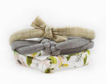 Headband Set, Newborn Headband Set, Baby Photo Prop, Top Knot, Baby Knot Headband, Boho Headband, Linen Headband, Baby Shower Gift, Baby Bow