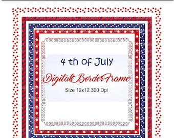 ON SALE _ 4th of July Digital Frame Clip Art, 4th of July Border Clipart , Independence day, Square frame, Patriotic frame, printable