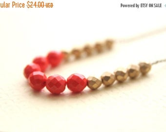 CHRISTMAS in JULY SALE Long Coral Gold Metallic Beaded Necklace // Bridesmaid Gifts // Bridal Jewelry // VIntage Wedding