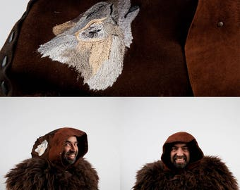 Larp leather hood wolf embroidery warcraft cosplay game of thrones brown ranger costume medieval hunter druid viking adventurer barbarian