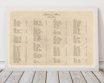 world map seating chart destination wedding decor - diy printable - antique travel seating plan, vintage reception decor seating arrangement