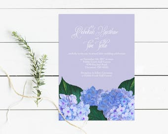 hydrangea wedding invitation - floral printable diy invite - vintage botanical illustration country rustic purple blue flowers bridal shower