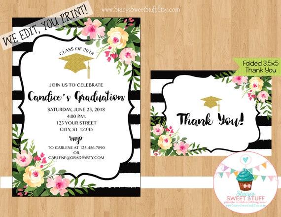 graduation invitation floral graduation invitation graduation