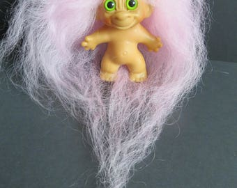 OOAK Vintage Tab Neck Troll Dam/Scandia Long Cotton Candy Pink Mohair Green Eyes TROLLS