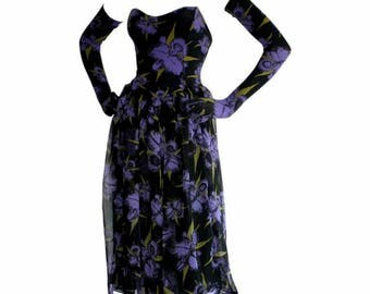 Orchids in Bloom...RARE vtg70's Alley Cat by Betsey Johnson Orchid Floral Punk Era Dress with Attached Elbow Length Gloves...size PETITE XS