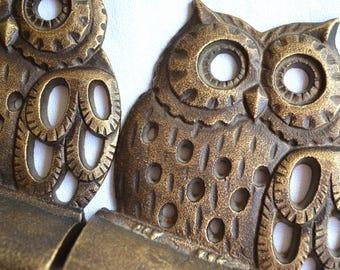 Vintage Metal Owl Bookends