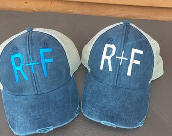 Rodan and Fields Monogram Hat, Women's R+F Distressed Trucker Hat, Baseball Cap Distressed