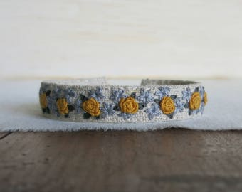 Textile Art Bracelet - Mustard Yellow Roses - Hand Embroidered Cuff Bracelet - Under 50 Gift
