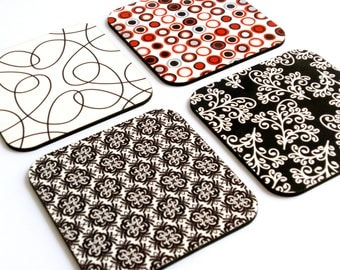 Retro red white black Coaster set,geometric printed patterned graphic designed decorative square drink coasters,hostess housewarming decor