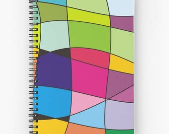 Rainbow colorful spiral notebook,geometric planner,abstract journal,notepad,memo pad,writing pad,hardcover notebook,desk accessories