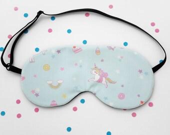 Unicorn Rainbow Sweets Sleep Mask, Kawaii Eye Mask, Baby Blue Handmade Accessory, Silk Back