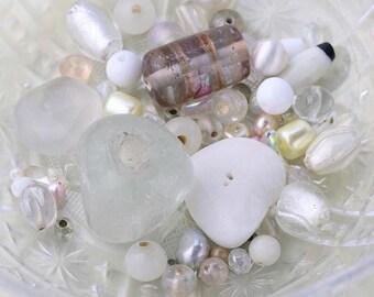 Wedding White Bead Mix, Mixed Lot of Loose White Beads, White Bead Soup, 57g Glass Beads, Destash Beads #12